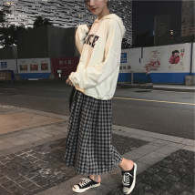 skirt Autumn of 2018 Average size Plaid skirt Mid length dress commute High waist A-line skirt lattice Type A 18-24 years old other Other / other