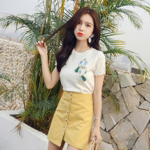 skirt Summer of 2018 S M L XL White knitting T-Shirt Pink knitting T-shirt yellow skirt white skirt white knitting + yellow skirt suit pink knitting + white skirt suit 8662 # Blue Plaid Short skirt commute High waist A-line skirt Solid color Type A 51% (inclusive) - 70% (inclusive) Other / other