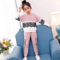 suit Beliruyi Blue lace suit pink lace suit 110cm 120cm 130cm 140cm 150cm 160cm female spring and autumn motion Long sleeve + pants 2 pieces routine