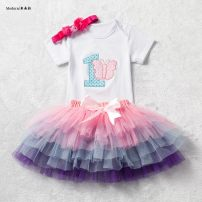 suit Other / other 8 9 10 16 17 18 About one year old female summer Short sleeve + skirt 2 pieces routine No model nothing Cotton blended fabric WT6634