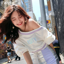 T-shirt white SML Autumn of 2018 three quarter sleeve Slant collar Self cultivation have cash less than that is registered in the accounts routine Sweet 18-24 years old other Splicing Palglg 83PT1133 Splicing Cotton 100% Pure e-commerce (online only)