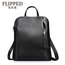 Backpack cowhide FLIPPED Black blue red brand new in zipper leisure time Double root European and American fashion hard youth no Soft handle nothing no