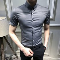 shirt fashion City S M L XL 2XL 3XL S.F Marceau conventional Brown red white purple gray black Other leisure Self-cultivation Short sleeve summer Buckle collar S.F0147 Exquisite Korean style youth Polyester fiber 64.3% viscose fiber (viscose) 32.5% polyurethane elastic fiber (spandex) 3.2% Pure color