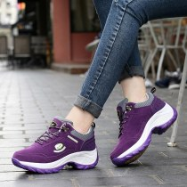 Low top shoes Standard sneaker size 35 36 37 38 39 40 41 Alligator Round head Shake the bottom Suede Deep mouth Middle heel (3-5cm) cloth Fall 2017 Frenulum leisure time Adhesive shoes Youth (18-40 years old) middle age (40-60 years old) Color matching MD Rocking shoes PU daily BG-P1515ZZ
