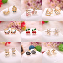 Ear Studs Alloy / silver / gold RMB 1.00-9.99 Other / other brand new Japan and South Korea female goods in stock Online gathering features Alloy inlaid artificial gem / semi gem Plants and flowers Ear nail series