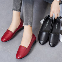 Low top shoes 35 36 37 38 39 40 41 Nick Arthur Red and black Round head Flat bottom top layer leather Midmouth Low heel (1-3cm) PU Fall 2017 Trochanter grace Adhesive shoes Youth (18-40 years old) middle age (40-60 years old) Solid color rubber Doug shoes PU daily Face dressing
