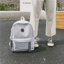 Backpack canvas Sea fish White black brand new in zipper campus Double root Japan and South Korea soft youth yes Soft handle Geometric pattern Yes yes