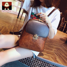 Backpack PU Beibao Black Khaki blue brown brand new Small Cover type leisure time Double root Japan and South Korea soft youth no Soft handle nothing