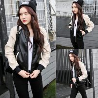 leather clothing Other / other Autumn of 2018 165/88A Pre sale Decor black routine Long sleeves commute zipper routine PU 18-24 years old