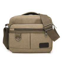 Men's bag Inclined shoulder bag canvas Other / other Black grey Khaki Brown army green brand new leisure time leisure time zipper soft Small yes inside pocket with a zipper Solid color nothing Single root middle age Horizontal square polyester fiber Color contrast Soft handle Straddle shoulder