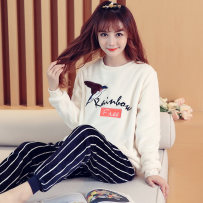 Pajamas / housewear set female Other / other Pay attention to the store and give small gifts Yl#889 letter bird Polyester (polyester) Long sleeves Sweet pajamas winter thickening Crew neck Cartoon animation trousers Socket youth 2 pieces rubber string More than 95% Coral velvet fabric Embroidery