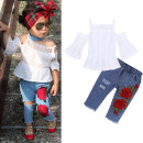 suit Kids Tales White suspender Top + embroidered jeans female summer Europe and America Short sleeve + pants 2 pieces Thin money Socket nothing other