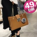 Bag The single shoulder bag PU Tote Bag Other / other Black red green light brown brand new large leisure time soft Buckle no Solid color Single root