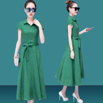 Dress Summer of 2018 Red green blue black S (within 95 kg recommended) m (95-105 kg recommended) l (105-115 kg recommended) XL (115-125 kg recommended) 2XL (125-135 kg recommended) 3XL (135-150 kg recommended) Long skirt Commuting Single Short sleeve Standing collar Pure color Middle waist Sleeve