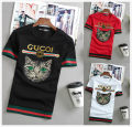 T-shirt Youth fashion Letter cat white letter cat red letter cat black color flag black red edge color flag white red edge color flag red white edge cat head black cat head white cat head red leopard head black leopard head white leopard head red routine Jintian Short sleeve Crew neck Other leisure