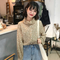 shirt White Polka Polka Average size Autumn of 2018 polyester fiber 91% (inclusive) - 95% (inclusive) Long sleeves commute Regular stand collar Dot