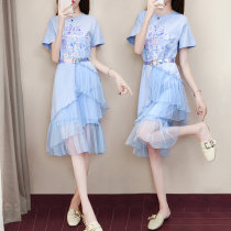 Dress Summer of 2018 blue SMLXL Mid length dress singleton  Short sleeve commute Crew neck middle-waisted Solid color Socket Irregular skirt routine Others 25-29 years old Type H FASHION MEUVAN Korean version Lace bright silk hook flower hollow tie stitching asymmetric tie Sequin gauze