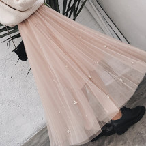 skirt Spring of 2018 Average size Apricot grey white black Mid length dress Versatile High waist Pleated skirt Solid color Type A 18-24 years old other