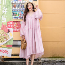 Dress Winter 2017 Pink Blue Average size longuette Two piece set Long sleeves Sweet V-neck Loose waist Solid color Socket Big swing bishop sleeve camisole 25-29 years old Type A 1778 let's go together Splicing waves six thousand three hundred and fourteen 91% (inclusive) - 95% (inclusive) Chiffon