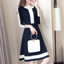 Dress Spring of 2018 black SMLXL Mid length dress singleton  Long sleeves commute Crew neck High waist Solid color Socket A-line skirt routine Others 25-29 years old Type A Yilian products Korean version Contrast stitching YL883815 knitting Other 100% Pure e-commerce (online only)