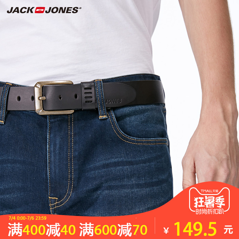 Belt / belt / chain The first layer of leather F12 dark brown E03 black Jack Jones/Jack Jones belt male Wild Buckle Single circle alloy 21745O503 youth Glossy 102cm112cm Autumn and winter 2017 Yes