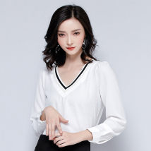 Lace / Chiffon Summer of 2018 white SMLXL Long sleeves Versatile Socket singleton  easy Regular V-neck Solid color shirt sleeve 25-29 years old Gunido