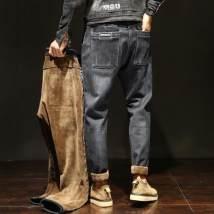Jeans Youth fashion Lang feitu 28 29 30 31 32 33 34 36 38 40 42 Black gray (plush thickening) dark blue (plush thickening) black gray (regular) dark blue (regular) 11 smoke grey (plush thickening) 11 blue (plush thickening) Plush and thicken Micro bomb Plush denim fO34Wq trousers winter youth tide