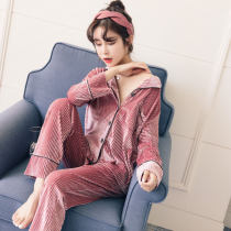 Pajamas / housewear set female Other / other M (collect baby give small gift) l (free freight insurance) XL (goddess price) Bean paste red gray dark blue Polyester (polyester) Long sleeves Sweet pajamas autumn routine Small lapel Solid color trousers Front buckle youth 2 pieces rubber string Velvet