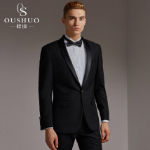 Suit Business gentleman Ou Shuo Dark blue - suit + trousers + vest 185/100(52A) routine OS-M258-1 Polyester 70% viscose 30% Fall 2017 Pure e-commerce (online only)