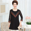Middle aged and old women's wear Summer 2017 2XL 3XL 4XL 5XL . XL Wine red black fashion Dress easy singleton  Solid color 40-49 years old Socket moderate Crew neck Medium length routine Lace polyester others 81% (inclusive) - 90% (inclusive) Medium length Polyester