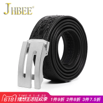 Belt / belt / chain Crocodile leather Brown black JHBEE belt male Wild Automatic buckle stainless steel forty-seven thousand two hundred and ninety-nine youth Glossy 105cm110cm115cm120cm125cm130cm Spring and summer of 2018