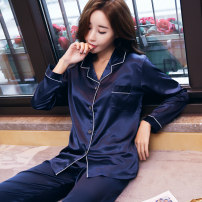 Pajamas / housewear set female Jiexiang S (80-90 kg) m (90-105 kg) l (105-120 kg) XL (120-140 kg) XXL (140 kg) 141 (blue) 141 (champagne) 141 (pink) 141 (green) 141 (silver) 141 (white) Polyester (polyester) Long sleeves sexy pajamas spring Thin money Small lapel Solid color trousers double-breasted
