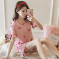 Pajamas / housewear set female Other / other M L XL XXL Strawberry short sleeve cup rabbit short sleeve doll short sleeve leaf short sleeve bear short sleeve bear bear short sleeve cherry short sleeve (pink) cherry short sleeve (blue) Magnolia short sleeve cotton Short sleeve Sweet pajamas summer