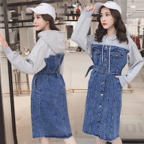 Dress Spring of 2018 Red gray black S M L XL 2XL Mid length dress singleton  Long sleeves commute Hood High waist Socket A-line skirt routine 18-24 years old Type H Korean version pocket 71% (inclusive) - 80% (inclusive) Denim cotton