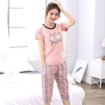 Pajamas / housewear set female Other / other 155(S) 160(M) 165(L) 170(XL) 175(XXL) 180(XXXL) 5364 67127 5532 5531 67037 8403 cotton Short sleeve Cartoon Leisure home summer Thin money Crew neck Cartoon animation Cropped Trousers Socket youth 2 pieces rubber string More than 95% pure cotton printing