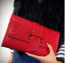 Bag clutch bag cowhide Envelope bag Other / other Red, blue, black brand new European and American fashion in leisure time hard Strip extraction no Yes