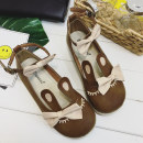 Low top shoes 35 36 37 38 39 Other / other brown Round head Flat bottom PU Shallow mouth Low heel (1-3cm) PU Summer 2017 Flat buckle Mori Youth (18-40 years old) rubber Mary Jane shoes Color matching of shallow buckle bow cloth