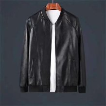 leather clothing Others Youth fashion Super leather 52,54,56,58,60 routine Imitation leather clothes stand collar Slim fit zipper autumn leisure time youth tide One Rib hem Side seam pocket Rib bottom pendulum