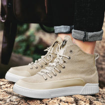 High shoes 39 40 41 42 43 44 Khaki black Other / other cloth Round head Frenulum Denim cloth cloth Korean version rubber Sports & Leisure winter Solid color Flat heel Vulcanized shoes light Youth (18-40 years old) High top board shoes without wearing make-up Low heel (1-3cm) cloth