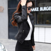 leather clothing Fall 2017 black SMLXLXXL Artistic ratio conventional Self-cultivation Long sleeve zipper Commuting Standing collar conventional Washed leather HB17C8612 Pleat 25-29 years old PU
