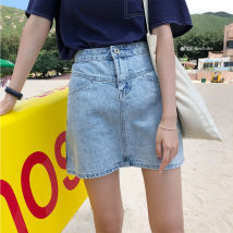 skirt Summer of 2018 S M L XL Denim-2001-stock Short skirt Versatile High waist A-line skirt Solid color Type A 18-24 years old 30% and below