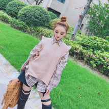 Vest Autumn of 2018 Khaki Green apricot Average size routine Crew neck commute Solid color other 18-24 years old 30% and below Lotus leaf edge