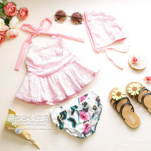 Bathing suit 100 (size 7) 110 (size 9) 120 (size 11) 130 (size 13) 140 (size 15) 150 (size 17) Other 100% Pink white Other / other female Children's split swimsuit &Three piece printed lace set & quot;