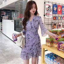 Dress Summer of 2018 violet Average size Mid length dress singleton  elbow sleeve commute V-neck Loose waist routine 18-24 years old Type A Other / other Korean version Lace up printing 03 More than 95% polyester fiber