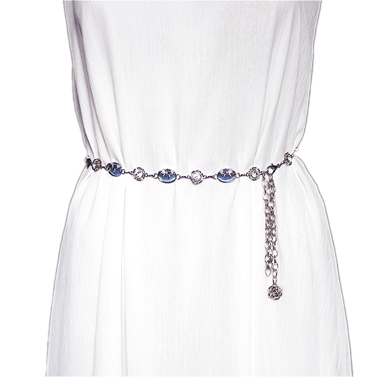 Belt / belt / chain Metal Pink purple beige blue black female Waist chain Sweet Single loop Children, youth, middle age a hook Diamond inlay Glossy surface 1.3cm alloy Inlaid fringes and carved chain flowers 108cm