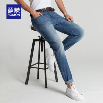 Jeans Youth fashion Romon / Romon 165/72A Dark blue routine Micro bomb Regular denim 2A73117 Cotton 72.9% polyester 26.2% polyurethane elastic fiber (spandex) 0.9% Autumn of 2018 Same model in shopping mall (sold online and offline)