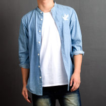 shirt Youth fashion D.RVLT S M L XL 2XL wathet routine Long sleeves stand collar easy Other leisure autumn DST180703-07 teenagers Cotton 100% tide 2018 Solid color Denim washing cotton Arrest line Soft Gloss  More than 95%