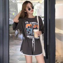 Casual suit Summer of 2018 Pink grey Average size 18-25 years old nine thousand one hundred and ninety-nine 96% and above cotton