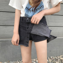 skirt Spring of 2018 S M L XL black Short skirt commute High waist A-line skirt Solid color Type A 18-24 years old H444 other Other / other Old button with tassel pocket Korean version