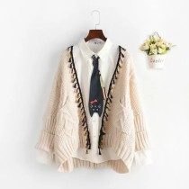 sweater Winter 2017 Average size Beige brown yellow dark green black Cardigan singleton  Regular other 30% and below V-neck Regular Solid color Regular wool Keep warm and warm 18-24 years old four thousand five hundred and fifteen tassels